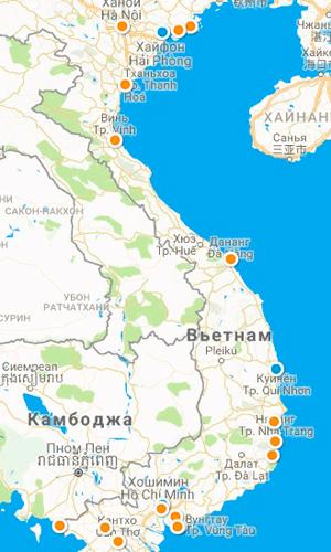 Морские порты Вьетнама на карте